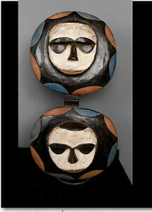 Old Tribal Large  Eket 2 headed  Mask    ---  Nigeria