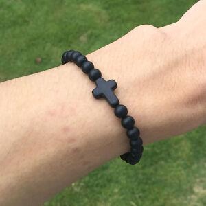 Fashion Men's Matte Onyx Stone Cross Yoga Beaded Bracelets Boyfriend Friendship