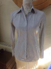 👀*** CHARLES TYRWHITT 👀 UK 8 Grey/white Stretch Blouse - Long Sleeves - VGC