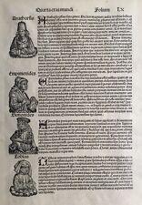 1493 Antique Print; Quarta Etas Mundi,  Nuremberg Chronicle