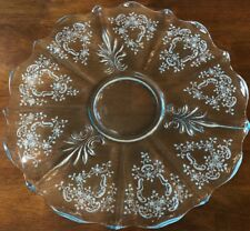 ANTIQUE Fostoria BLUE Depression GLASS Meadow ROSE Platter ETCHED Plate 14.25""