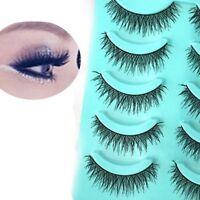 Hot  5 Pairs Makeup Handmade Long Thick Dense Cross False Eyelashes Eye Lashes
