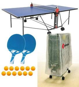 Sponeta S 1-43 e blau im Set outdoor Tischtennisplatte mit Hülle u Schlägerset