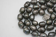 new NATURAL 9-10MM TAHITIAN RICE BLACK gray PEARL NECKLACE 18""
