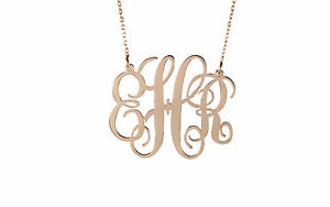 HANDMADE Personalised Monogram Necklace,Name Necklace18K Rose Gold Plated 1.50''