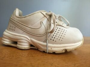 NIKE RETRO Air Shox ALL WHITE LEATHER Boys Girls Athletic Toddler Shoes Sz 7 c ~
