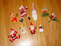 (9) VINTAGE Christmas Tooth Pick Felt Plant Sticks - ESTATE Find - Santas, Bear