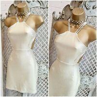 EDGE STREET 💋 UK 10 New Gold Textured Backless Strappy Mini Dress Free P&P