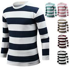 NEW Mens Slim Fit Crew Neck Stripe Long Sleeve Tee T-shirt Tops Blouse M06 XS-XL