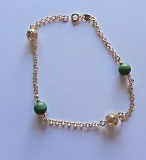 Anklet - 18K Gold Plated- beads gold green- link chain -10 inches