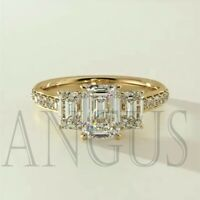 3.66Ct Emerald Cut Diamond Engagement Wedding Ring Solid 14K Yellow Gold