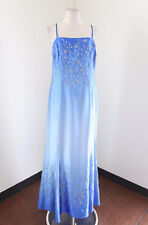 La Femme Blue Ombre Floral Sequin Beaded Evening Dress Formal Gown Size 18