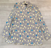 Autograph M&S Blouse Top Shirt Size 18 Stripe Blue Yellow Long Sleeve Blogger