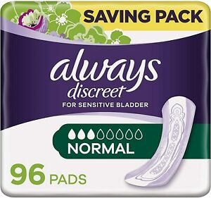Always Discreet Incontinence Pads for Women Normal Saving Pack 48 / 72 / 96 Pads