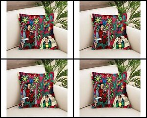 Indian Frida Khalo Printed Cushion Cover 4 PC's Home Décor 20x20 Pillow Cover US