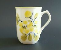 "Hand Painted Tea Cup Coffee Mug Japan Green and Yellow Flowers 4"" Vintage"