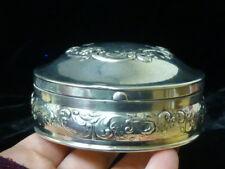 Vintage Gorham Sterling Silver Dresser Box With Floral Repousse
