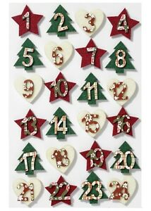 Advent Numbers Self Adhesive Felt 1 to 24 Christmas Festive by Cranberry