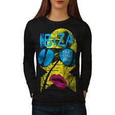 Wellcoda Ibiza Gala Longa Holiday Womens Long Sleeve T-shirt, Live Casual Design