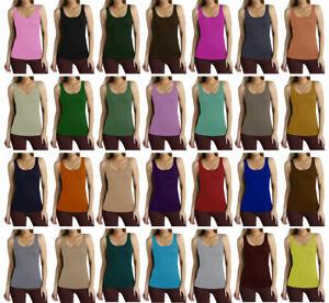 Women Ladies Sleeveless Scoop Neck Plain Bodycon Vest T-Shirt Top SZ 8-26
