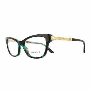 Versace CAT EYE Eyeglasses VE3214 5076 Green Havana Frame W/ RX Demo Lens NEW