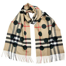 Burberry Classic Cashmere Scarf In Check And Dots - Dark Forest Green