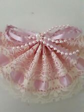 Beautiful Pink Lace With Faux Pink Pearls Fan Ornament