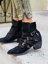 FREE PEOPLE SHOES MASON WESTERN BOOT BLACK SUEDE BUCKLE BOOTIES NEW 37 $298