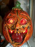 SCARY  Halloween GHOST LIGHT CERAMIC Pumpkin Head HORROR VTG INSPIRED DECORATION