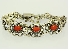 ♦♦Armband in aus 835er Silber mit Korallen Armreif Silberarmband Trachtenarmband