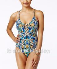 Bar III Multicolor Monarchy Tribal Lace Up One Piece Swimsuit M NWT NEW