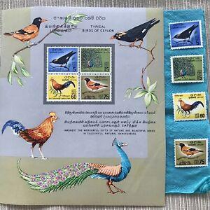 Set of 4x Stamps + 1x Mini Sheet Ceylon Sri Lanka - Birds - World-Asia - MUH/MNH