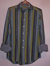 Robert Graham Long Sleeve Button Front Shirt Multi Color Stripe Contrast Cuffs M