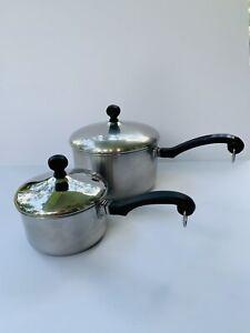 Set 2 Vintage Farberware Stainless Steel Saucepans Pots 3Qt and 1Qt With Lids