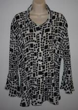 MILANO Black White Geometric Pleated Crinkle Blouse Top Size 1X Semi-sheer