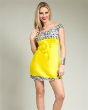 """NEW! Sexy BABY DOLL Mini COSPLAY Dress in YELLOW w/ PRINT ~ SMALL / Bust 32"""""""