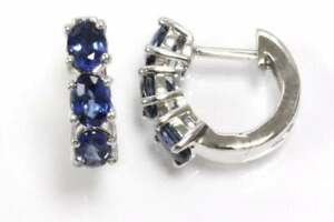 1.5 ctw Natural Blue Oval Sapphire Solid 14k White Gold Semi Hoop Earrings 15 MM