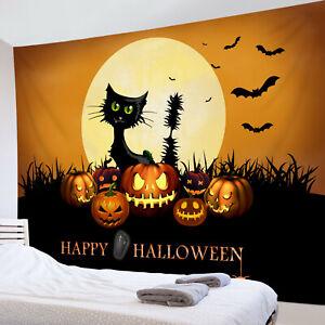 Happy Halloween Tapestry Black Cat Pumpkin Moon Wall Hanging Bedspread Cover