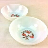 Anchor Hocking Fire King Ice Cream Dessert Bowls Set of 2 Fleurette Milk Glass