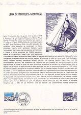 Document Philatélique Timbre 1er Jour : 17/07/ 1976 - Jeux Olympiques Montréal