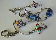 Sterling Fancy Links & Murano glass Bracelet