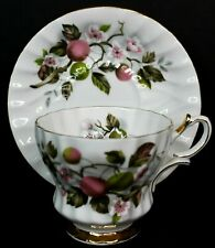Queen Anne Vintage Bone China Tea Cup and Saucer Gold Green Pink Floral England