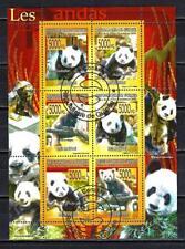 Animali Panda Guinea (265) Serie 6 Francobolli Usati in Foglio