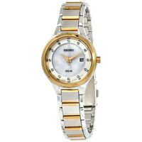 Seiko Solar Diamond Accent Two Tone Mother of Pearl Dial Ladies Watch SUT318