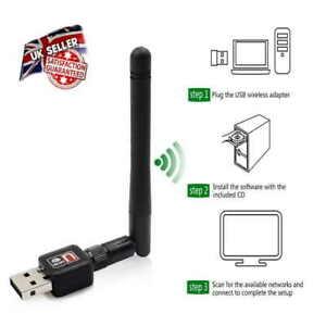 USB WiFi Wireless Usb Adapter Internet Dongle For Windows 7 8 10 *UK Seller*
