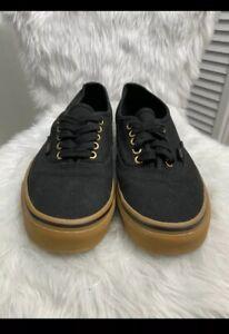 Vans Authentic Mens Black Brown Rubber Gum Shoes Sneakers Sz 8 Men 9.5 Women