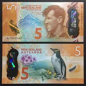2015 NEW ZEALAND 5 DOLLARS POLYMER P-191 UNC> >SIR EDMUND HILLARY HOIHO PENGUIN