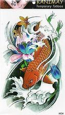 Koi Fisch Temporary Temporäre Klebe Einmal Tattoo Klebetattoo 12 x 20 cm AX34
