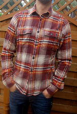 new £44  new Hollister men brown checked  spring shirt  L