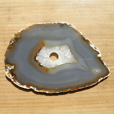 Gray Banded Agate and Quartz Crystal Geode Slice Clock Face Drilled 5.25 x 3.5""